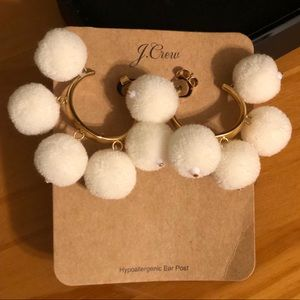 J. Crew Cream Pom Pom Earrings NEW WITH TAGS